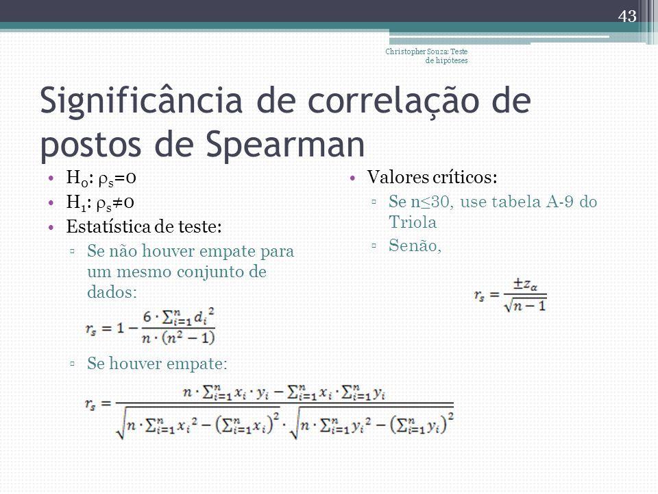 Significância de correlação de postos de Spearman H 0 : s =0 H 1 : s 0 Estatística de teste: Se não houver empate para um mesmo conjunto de dados: Se