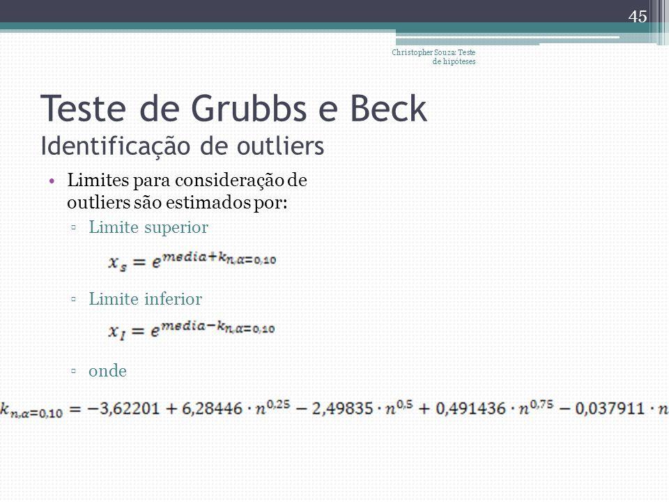 Teste de Grubbs e Beck Identificação de outliers Limites para consideração de outliers são estimados por: Limite superior Limite inferior onde Christo