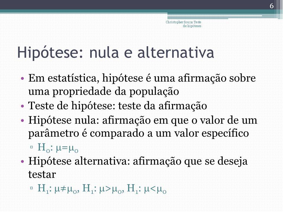Hipótese: nula e alternativa Em estatística, hipótese é uma afirmação sobre uma propriedade da população Teste de hipótese: teste da afirmação Hipótes