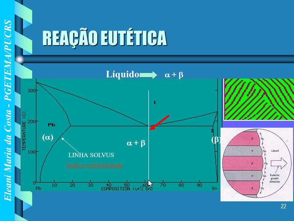 Eleani Maria da Costa - PGETEMA/PUCRS 22 REAÇÃO EUTÉTICA Líquido + LINHA SOLVUS ( ) + Indica solubilidade