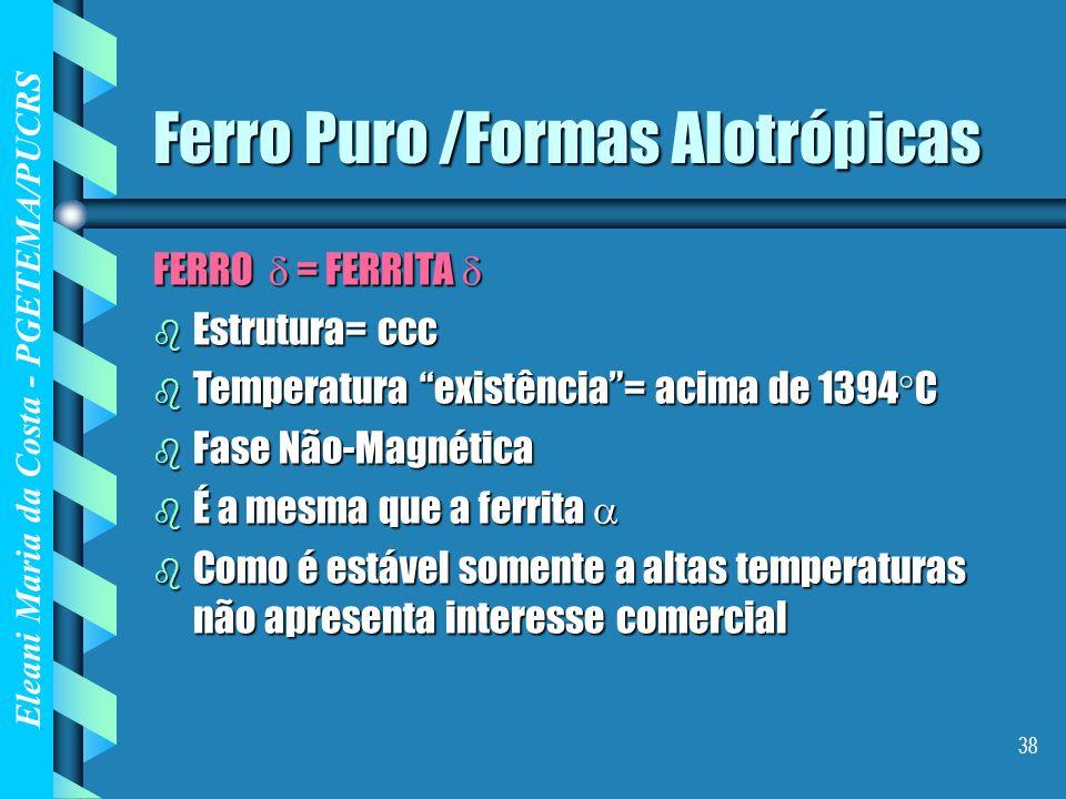 Eleani Maria da Costa - PGETEMA/PUCRS 38 Ferro Puro /Formas Alotrópicas FERRO = FERRITA FERRO = FERRITA b Estrutura= ccc b Temperatura existência= aci