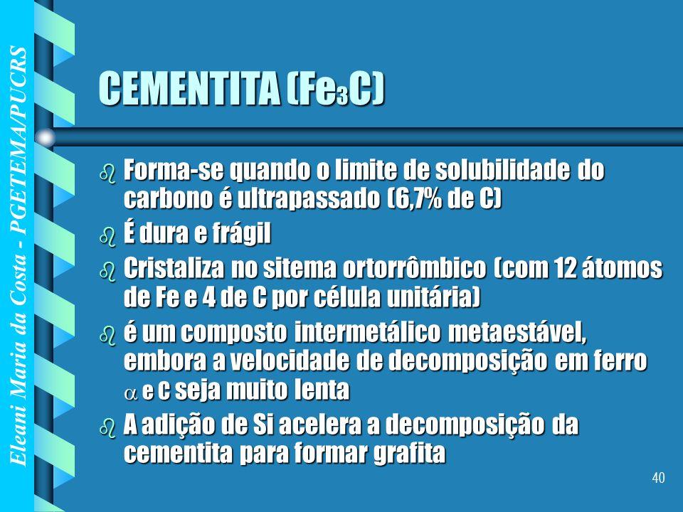 Eleani Maria da Costa - PGETEMA/PUCRS 40 CEMENTITA (Fe 3 C) b Forma-se quando o limite de solubilidade do carbono é ultrapassado (6,7% de C) b É dura