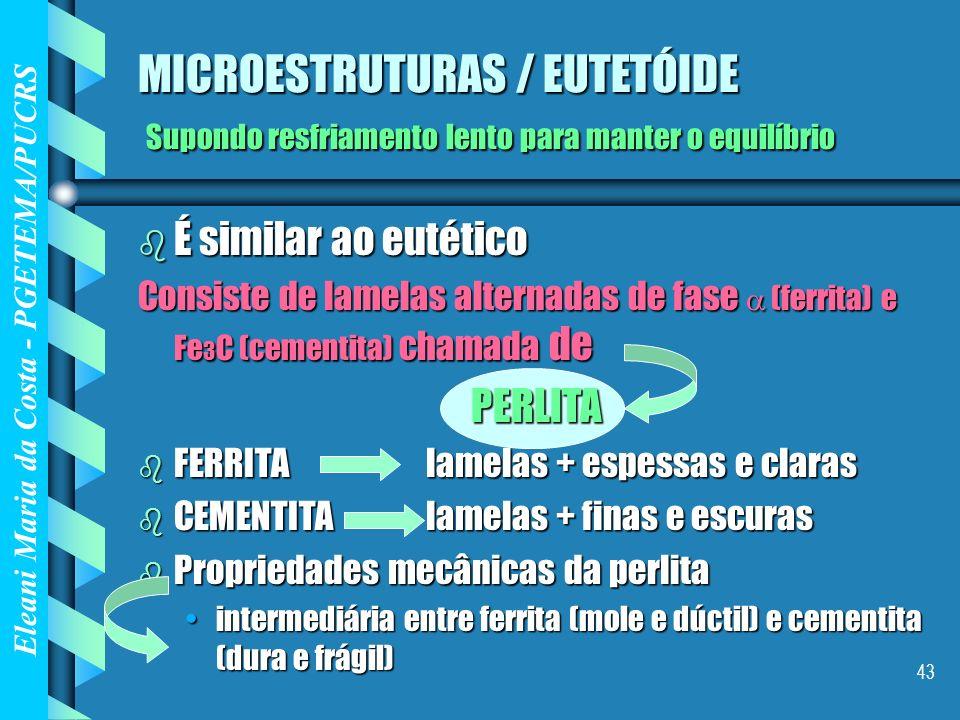 Eleani Maria da Costa - PGETEMA/PUCRS 43 MICROESTRUTURAS / EUTETÓIDE Supondo resfriamento lento para manter o equilíbrio b É similar ao eutético Consi