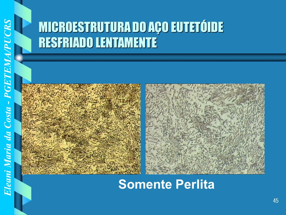 Eleani Maria da Costa - PGETEMA/PUCRS 45 MICROESTRUTURA DO AÇO EUTETÓIDE RESFRIADO LENTAMENTE Somente Perlita