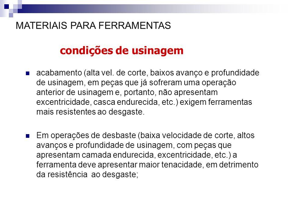 MATERIAIS PARA FERRAMENTAS condições de usinagem acabamento (alta vel. de corte, baixos avanço e profundidade de usinagem, em peças que já sofreram um