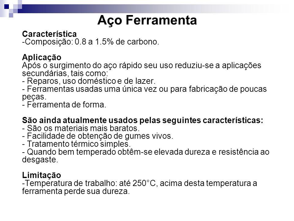 Aço Ferramenta Característica -Composição: 0.8 a 1.5% de carbono. Aplicação Após o surgimento do aço rápido seu uso reduziu-se a aplicações secundária