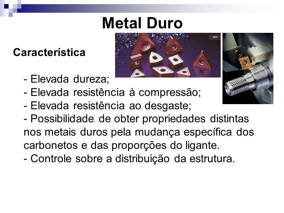 Metal Duro Característica - Elevada dureza; - Elevada resistência à compressão; - Elevada resistência ao desgaste; - Possibilidade de obter propriedad