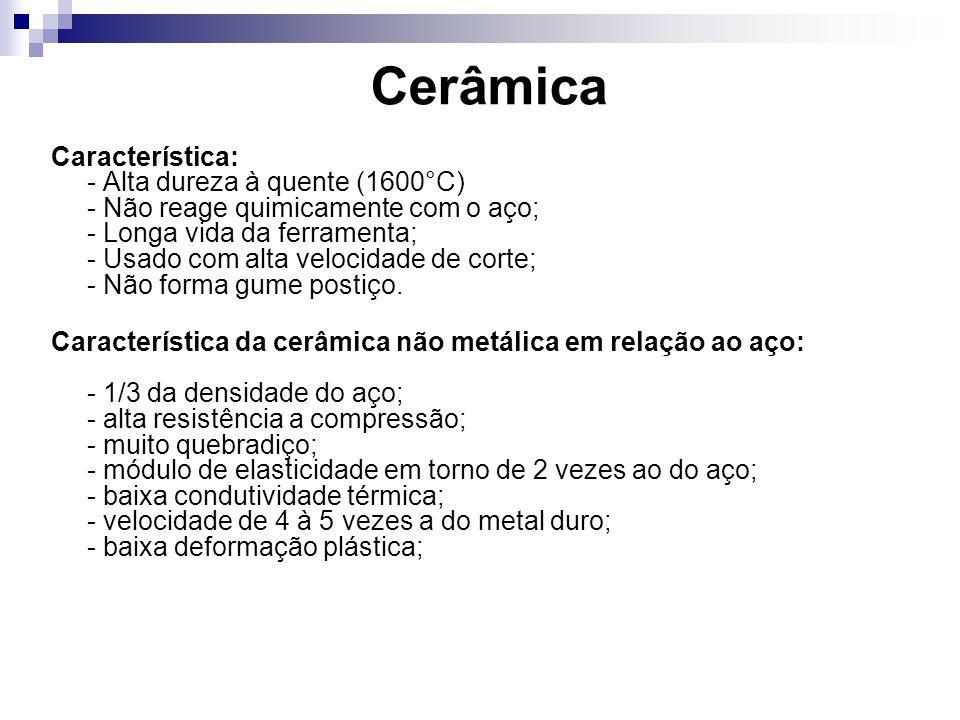 Cerâmica Característica: - Alta dureza à quente (1600°C) - Não reage quimicamente com o aço; - Longa vida da ferramenta; - Usado com alta velocidade d