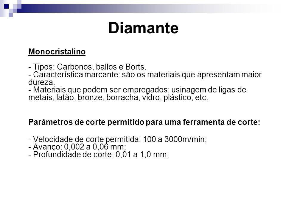 Diamante Monocristalino - Tipos: Carbonos, ballos e Borts. - Característica marcante: são os materiais que apresentam maior dureza. - Materiais que po