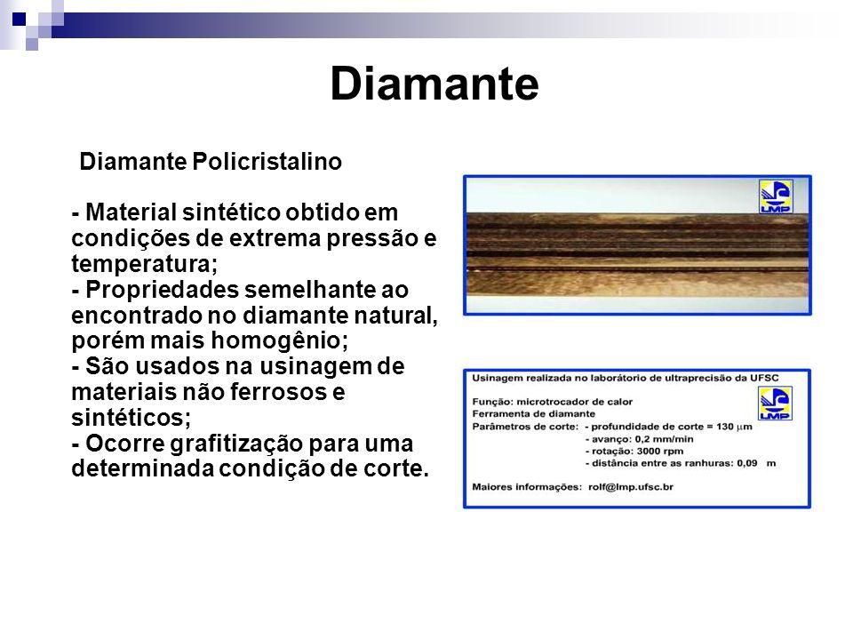 Diamante Diamante Policristalino - Material sintético obtido em condições de extrema pressão e temperatura; - Propriedades semelhante ao encontrado no
