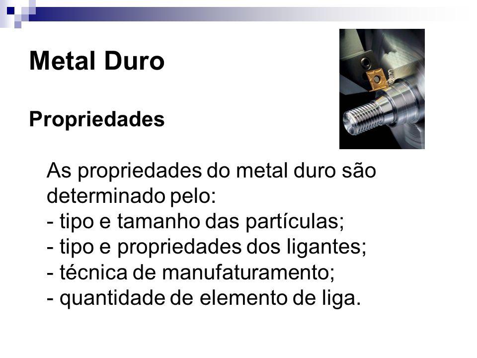 Metal Duro Propriedades As propriedades do metal duro são determinado pelo: - tipo e tamanho das partículas; - tipo e propriedades dos ligantes; - téc