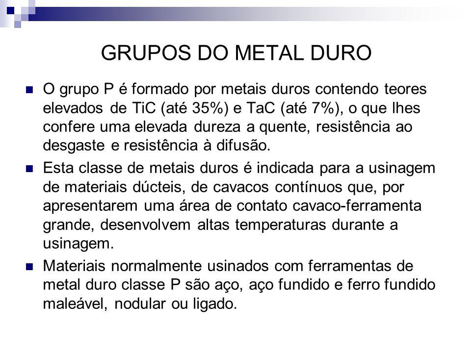GRUPOS DO METAL DURO O grupo P é formado por metais duros contendo teores elevados de TiC (até 35%) e TaC (até 7%), o que lhes confere uma elevada dur