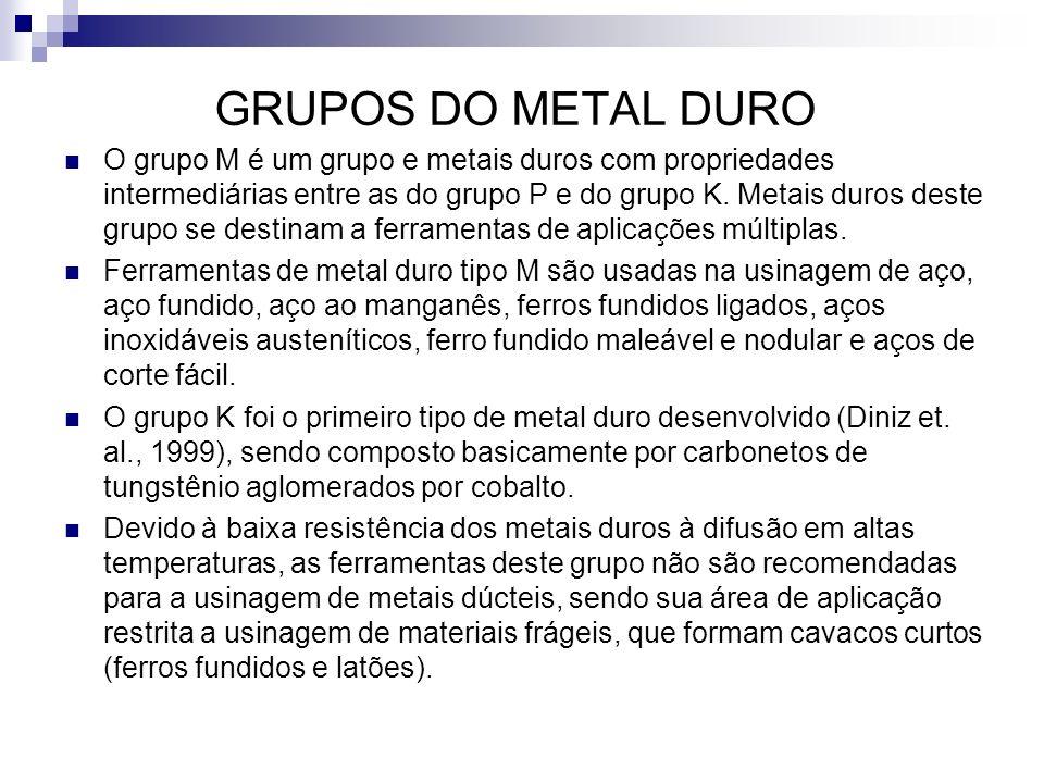 GRUPOS DO METAL DURO O grupo M é um grupo e metais duros com propriedades intermediárias entre as do grupo P e do grupo K. Metais duros deste grupo se