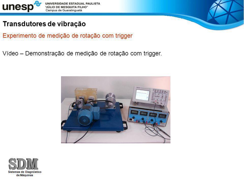 Experimento de medição de rotação com trigger Transdutores de vibração Vídeo – Demonstração de medição de rotação com trigger.