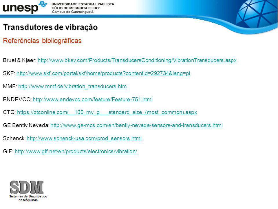 Referências bibliográficas Transdutores de vibração Bruel & Kjaer: http://www.bksv.com/Products/TransducersConditioning/VibrationTransducers.aspxhttp: