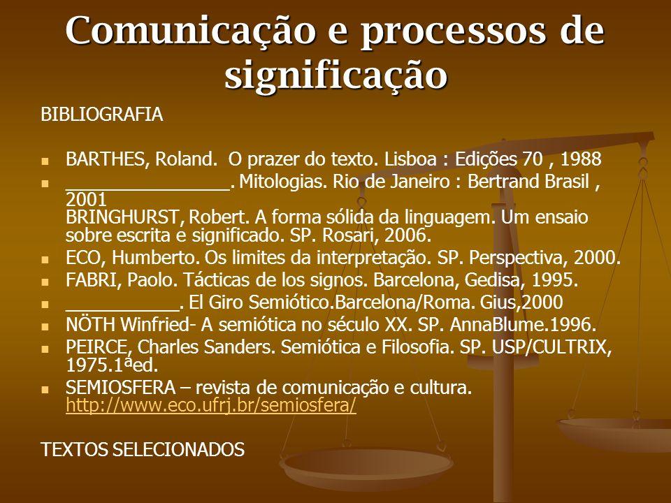 Comunicação e processos de significação BIBLIOGRAFIA BARTHES, Roland. O prazer do texto. Lisboa : Edições 70, 1988 ________________. Mitologias. Rio d