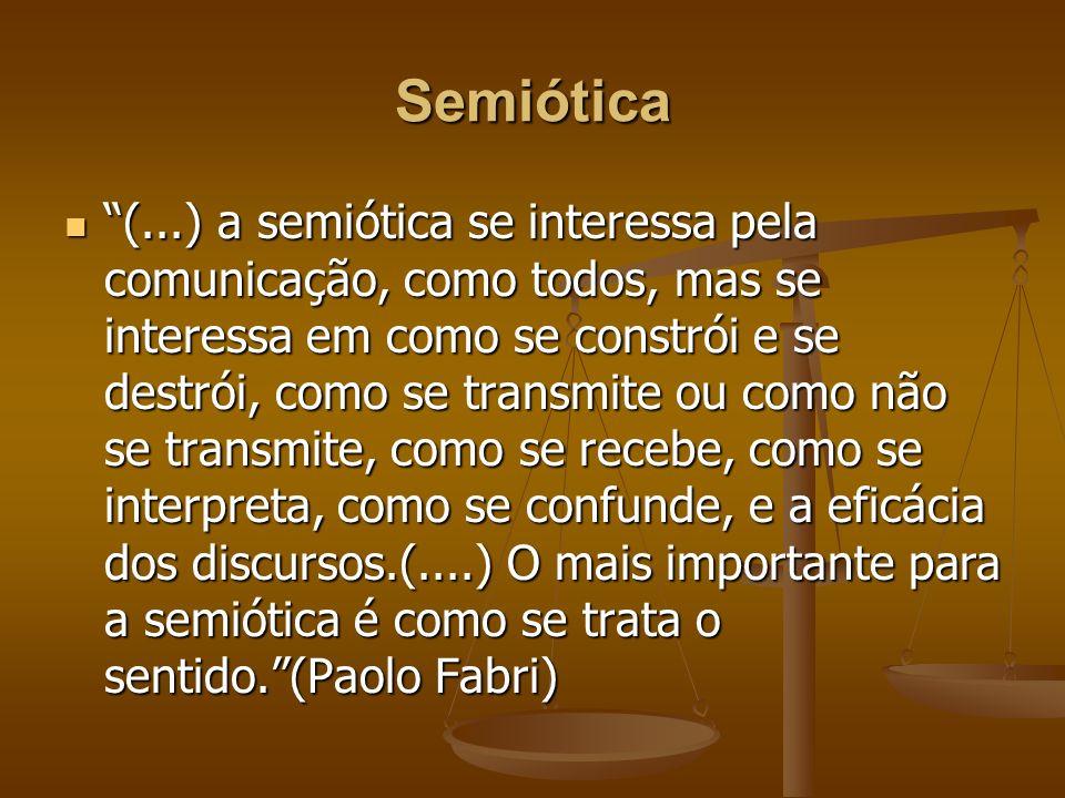 Semiótica (...) a semiótica se interessa pela comunicação, como todos, mas se interessa em como se constrói e se destrói, como se transmite ou como nã