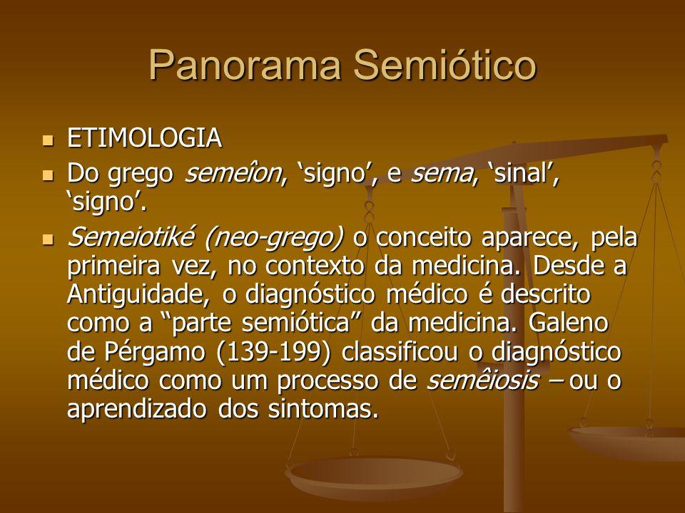 Panorama Semiótico ETIMOLOGIA ETIMOLOGIA Do grego semeîon, signo, e sema, sinal, signo. Do grego semeîon, signo, e sema, sinal, signo. Semeiotiké (neo
