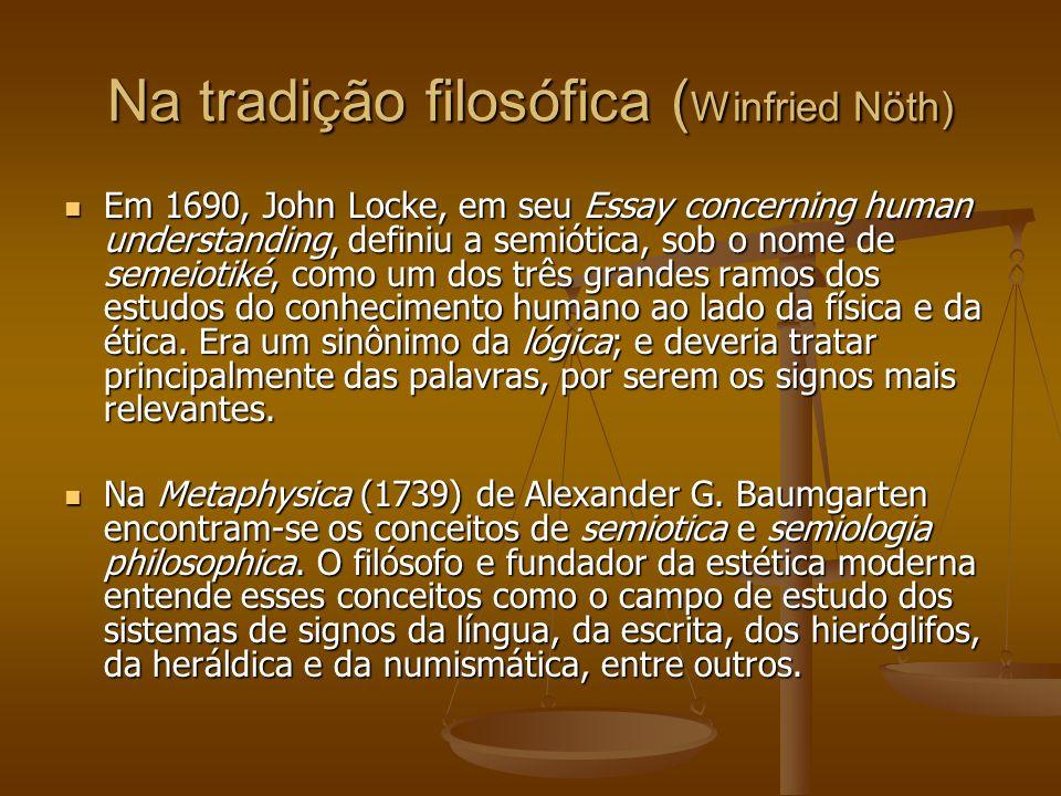 Na tradição filosófica ( Winfried Nöth) Em 1690, John Locke, em seu Essay concerning human understanding, definiu a semiótica, sob o nome de semeiotik