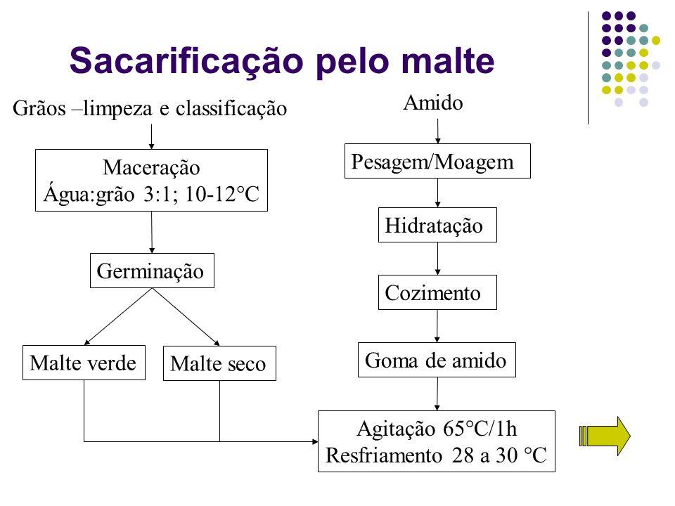 Sacarificação pelo malte Grãos –limpeza e classificação Maceração Água:grão 3:1; 10-12°C Germinação Malte verde Malte seco Amido Pesagem/Moagem Hidrat