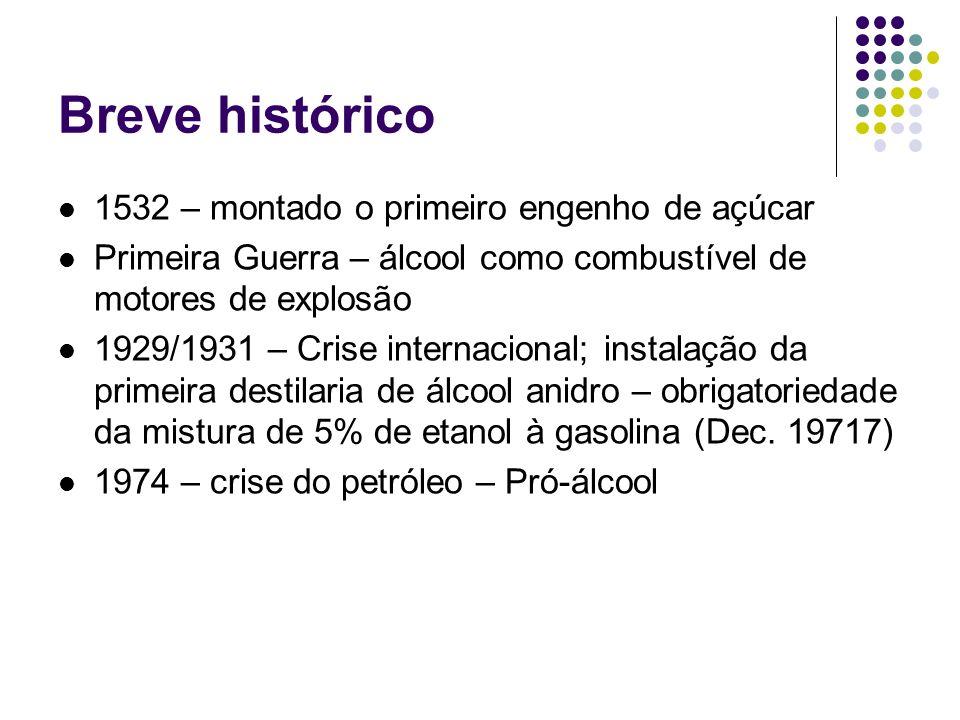 Breve histórico 1532 – montado o primeiro engenho de açúcar Primeira Guerra – álcool como combustível de motores de explosão 1929/1931 – Crise interna
