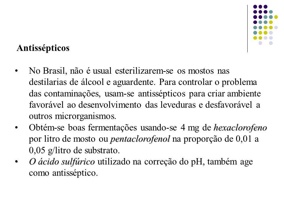 Antissépticos No Brasil, não é usual esterilizarem-se os mostos nas destilarias de álcool e aguardente. Para controlar o problema das contaminações, u