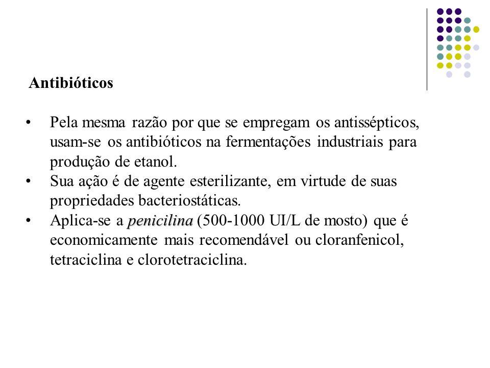 Antibióticos Pela mesma razão por que se empregam os antissépticos, usam-se os antibióticos na fermentações industriais para produção de etanol. Sua a