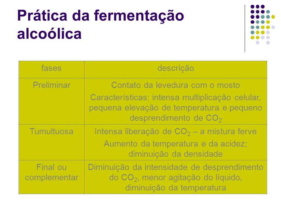 Prática da fermentação alcoólica fasesdescrição PreliminarContato da levedura com o mosto Características: intensa multiplicação celular, pequena elev