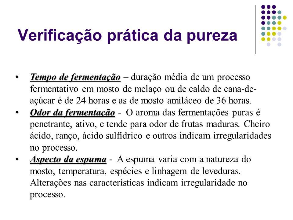 Verificação prática da pureza Tempo de fermentaçãoTempo de fermentação – duração média de um processo fermentativo em mosto de melaço ou de caldo de c