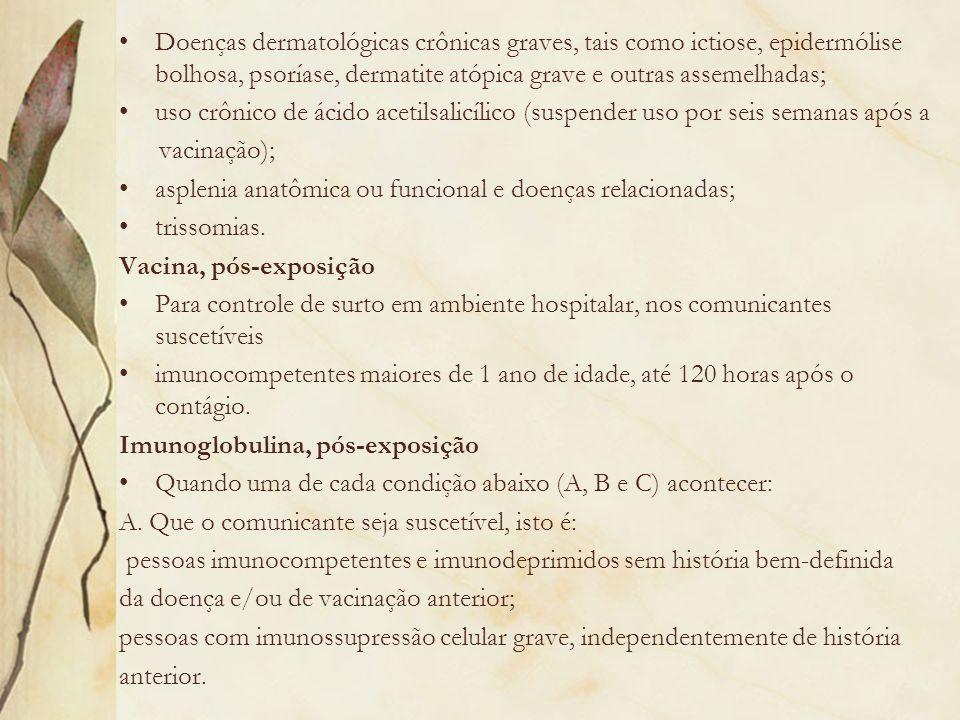 Doenças dermatológicas crônicas graves, tais como ictiose, epidermólise bolhosa, psoríase, dermatite atópica grave e outras assemelhadas; uso crônico