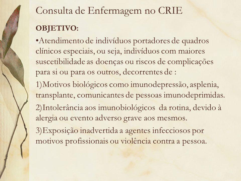 Consulta de Enfermagem no CRIE OBJETIVO: Atendimento de indivíduos portadores de quadros clínicos especiais, ou seja, indivíduos com maiores suscetibi