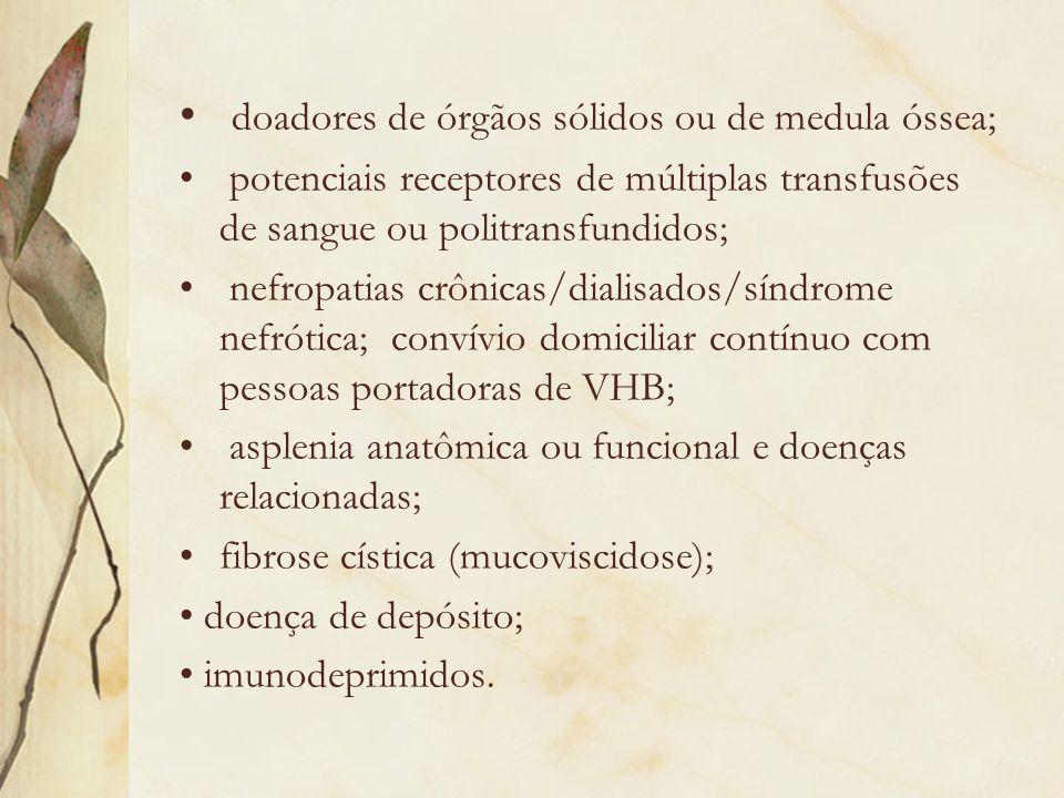 Vacinas contra Pneumococo (polissacarídica 23 valente e conjugada 7 valente) HIV/aids; asplenia anatômica ou funcional e doenças relacionadas; pneumopatias crônicas, exceto asma; asma grave em usos de corticóide em dose imunossupressora; cardiopatias crônicas; nefropatias crônicas/hemodiálise/síndrome nefrótica; transplantados de órgãos sólidos ou medula óssea; imunodeficiência devido a câncer ou imunossupressão terapêutica; diabetes mellitus; fístula liquórica; fibrose cística (mucoviscidose); doenças neurológicas crônicas incapacitantes;