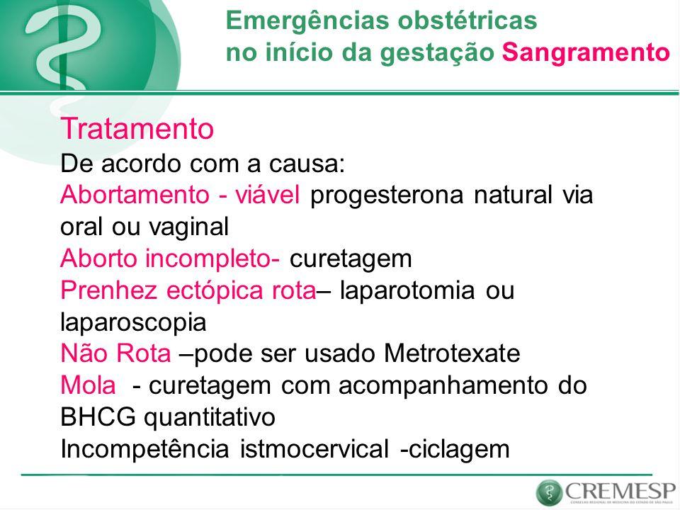 Emergências obstétricas no início da gestação Sangramento Tratamento De acordo com a causa: Abortamento - viável progesterona natural via oral ou vagi
