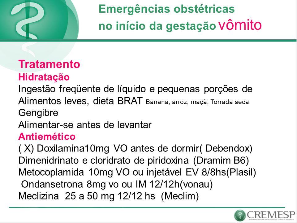 Emergências obstétricas no início da gestação vômito Tratamento Hidratação Ingestão freqüente de líquido e pequenas porções de Alimentos leves, dieta