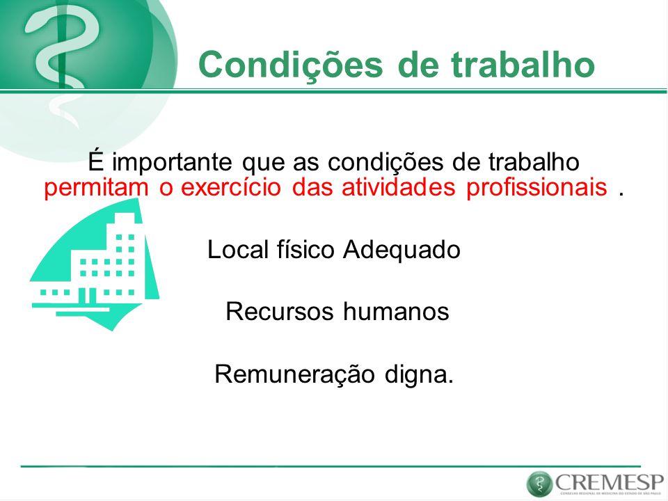 Condições de trabalho É importante que as condições de trabalho permitam o exercício das atividades profissionais. Local físico Adequado Recursos huma