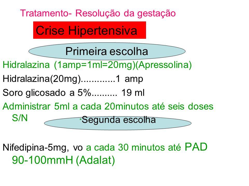 Hidralazina (1amp=1ml=20mg)(Apressolina) Hidralazina(20mg).............1 amp Soro glicosado a 5%.......... 19 ml Administrar 5ml a cada 20minutos até