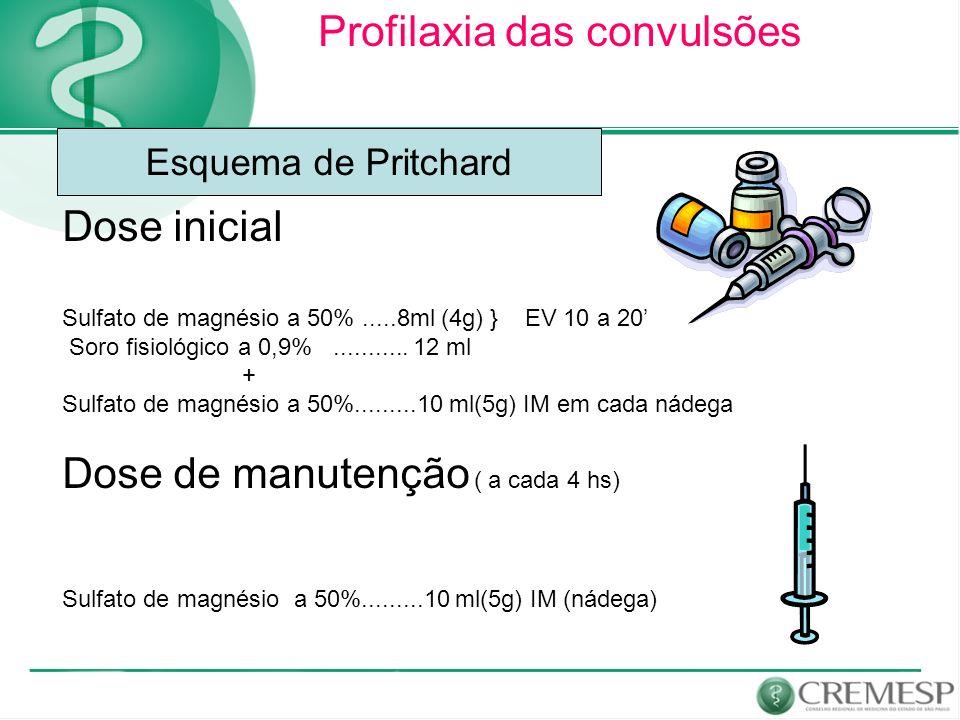 Profilaxia das convulsões Dose inicial Sulfato de magnésio a 50%.....8ml (4g) } EV 10 a 20 Soro fisiológico a 0,9%........... 12 ml + Sulfato de magné