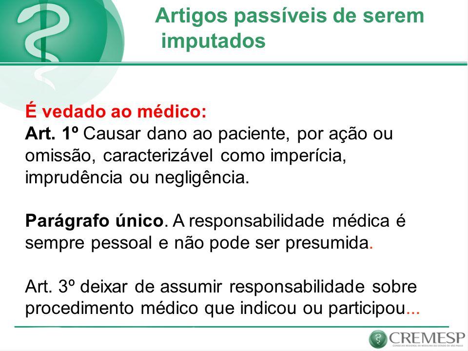 Artigos passíveis de serem imputados É vedado ao médico: Art. 1º Causar dano ao paciente, por ação ou omissão, caracterizável como imperícia, imprudên