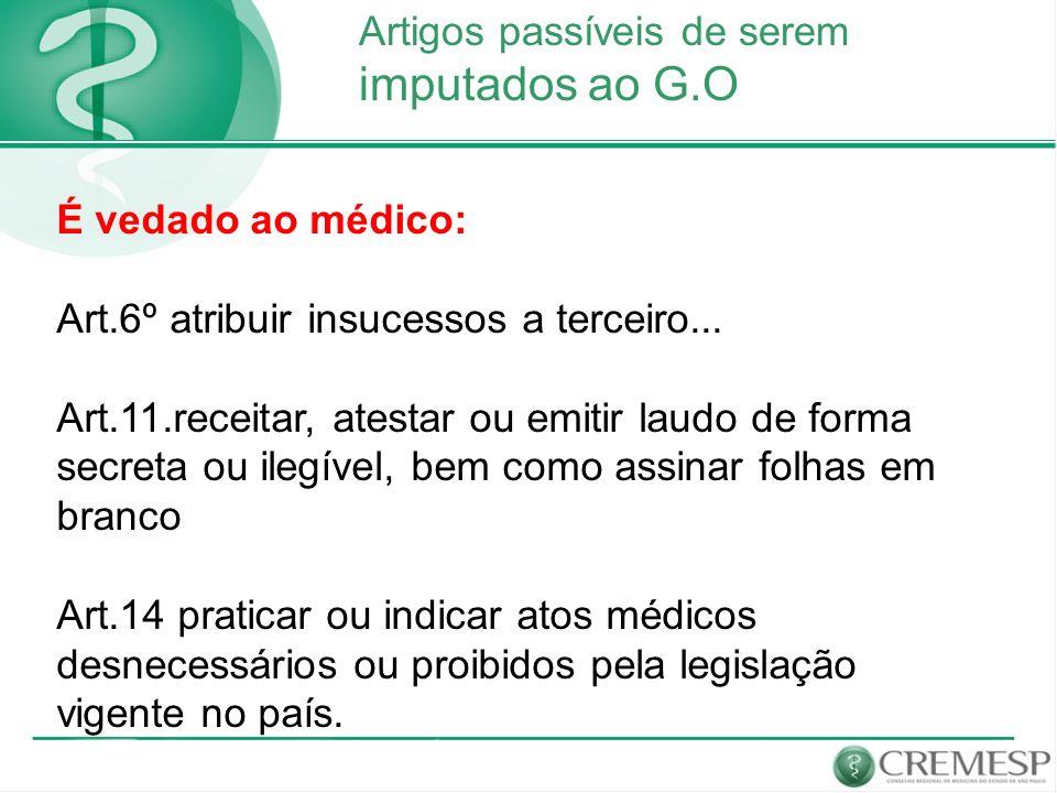 Artigos passíveis de serem imputados ao G.O É vedado ao médico: Art.6º atribuir insucessos a terceiro... Art.11.receitar, atestar ou emitir laudo de f