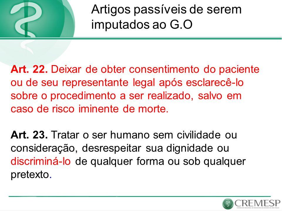 gg Artigos passíveis de serem imputados ao G.O Art. 22. Deixar de obter consentimento do paciente ou de seu representante legal após esclarecê-lo sobr