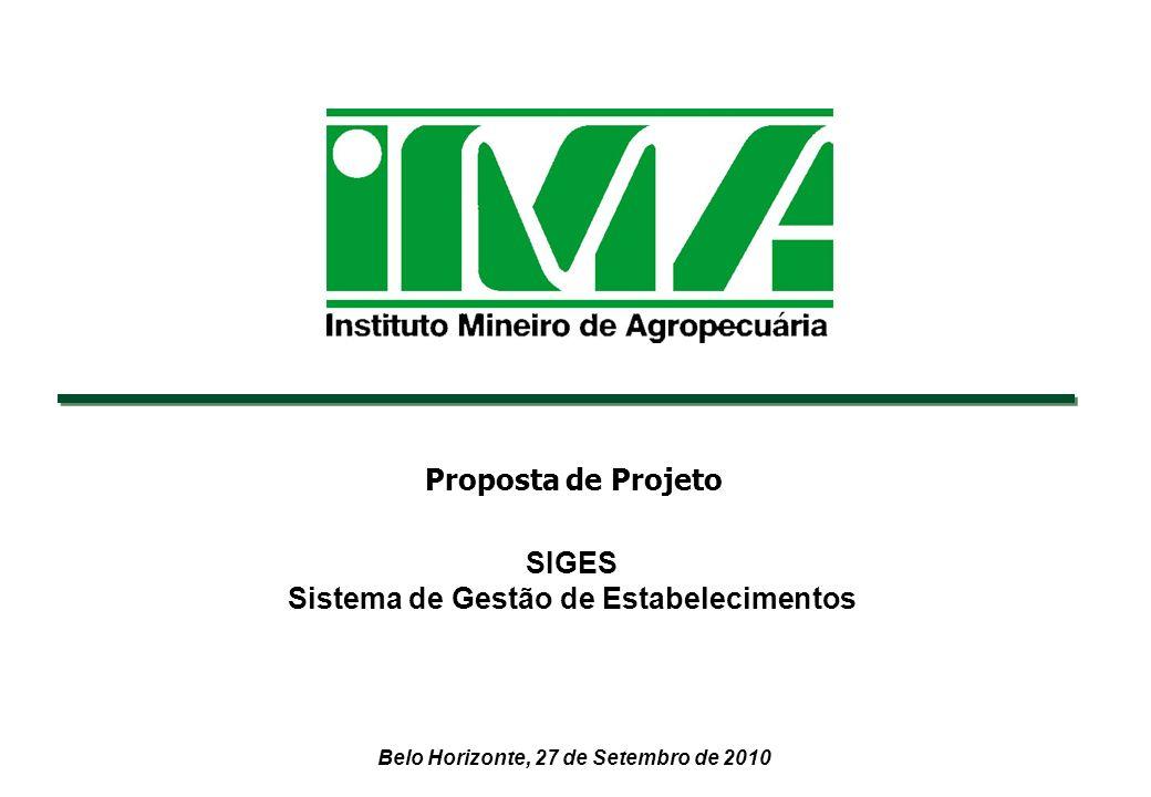 Belo Horizonte, 27 de Setembro de 2010 SIGES Sistema de Gestão de Estabelecimentos Proposta de Projeto