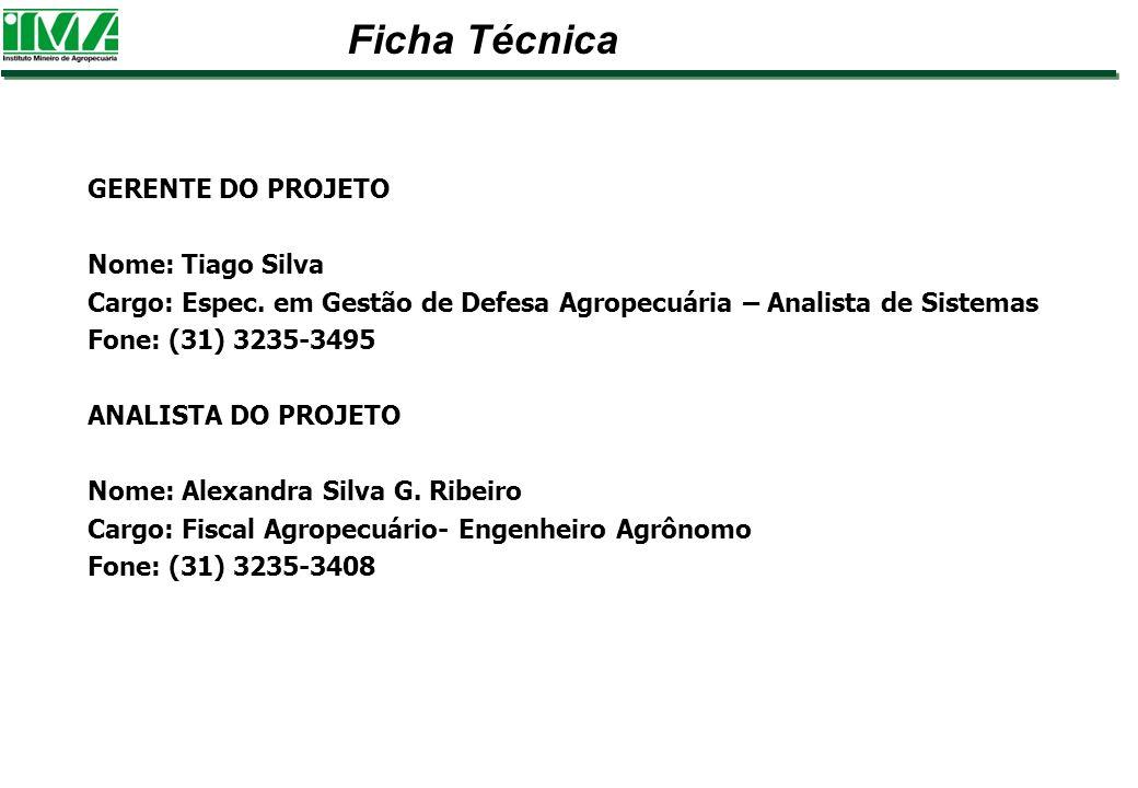 GERENTE DO PROJETO Nome: Tiago Silva Cargo: Espec. em Gestão de Defesa Agropecuária – Analista de Sistemas Fone: (31) 3235-3495 ANALISTA DO PROJETO No