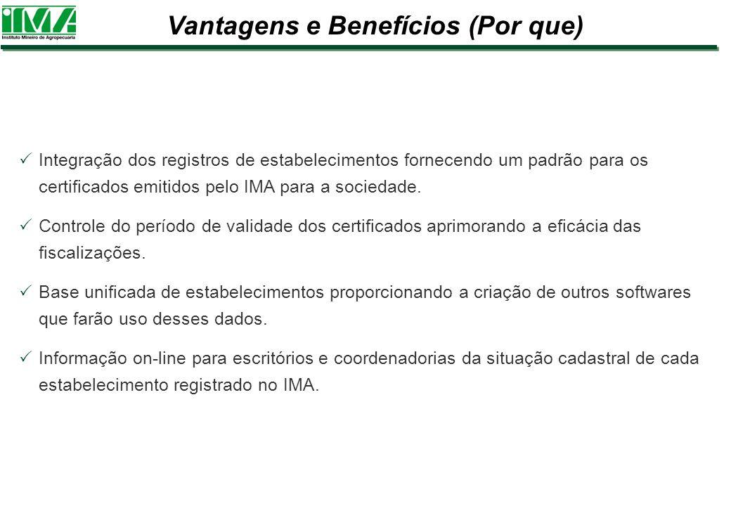 Integração dos registros de estabelecimentos fornecendo um padrão para os certificados emitidos pelo IMA para a sociedade. Controle do período de vali
