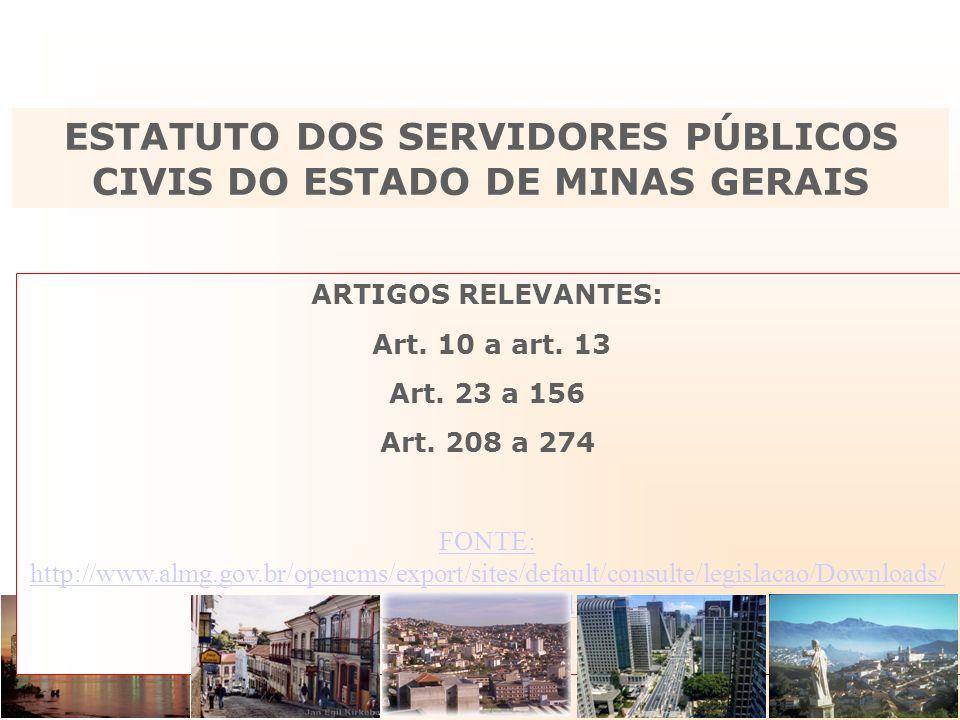 ARTIGOS RELEVANTES: Art. 10 a art. 13 Art. 23 a 156 Art. 208 a 274 FONTE: http://www.almg.gov.br/opencms/export/sites/default/consulte/legislacao/Down