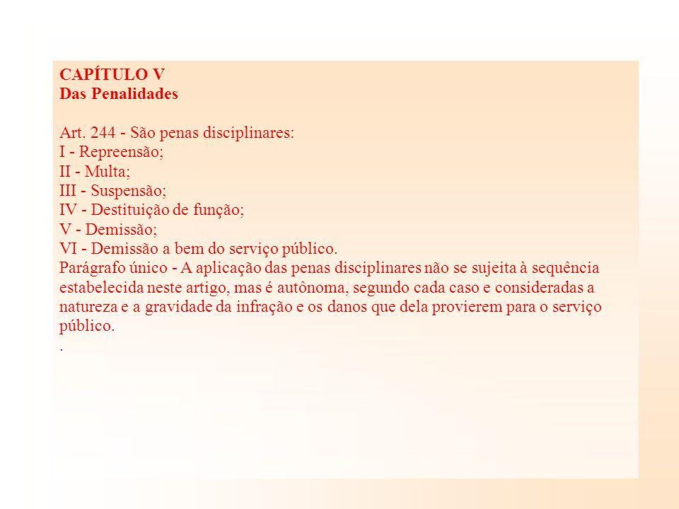 CAPÍTULO V Das Penalidades Art. 244 - São penas disciplinares: I - Repreensão; II - Multa; III - Suspensão; IV - Destituição de função; V - Demissão;