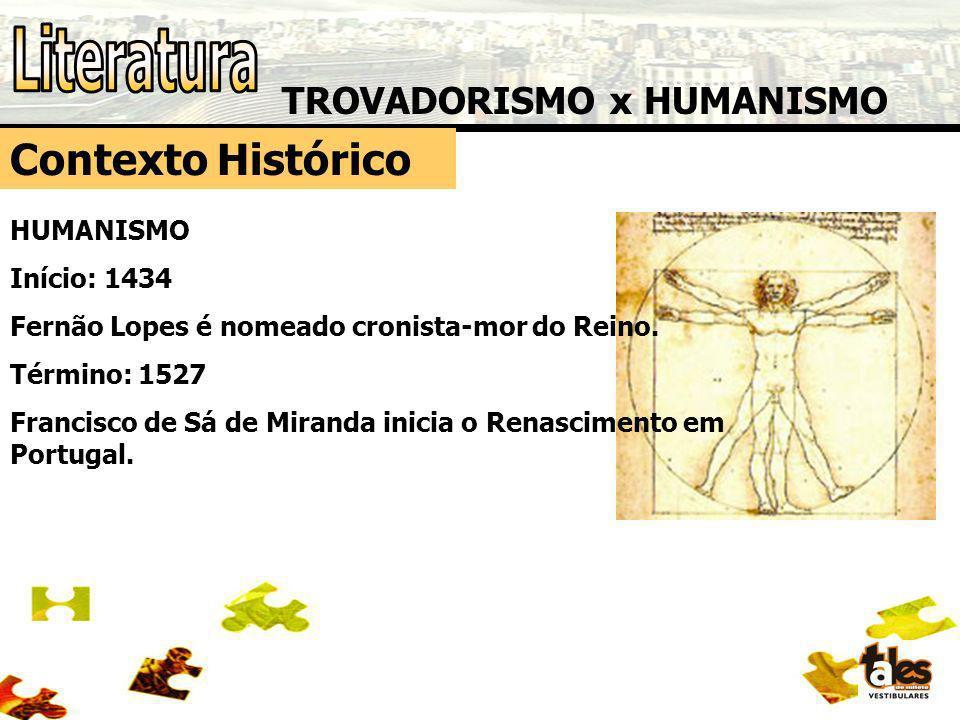 TROVADORISMO x HUMANISMO Contexto Histórico HUMANISMO Início: 1434 Fernão Lopes é nomeado cronista-mor do Reino. Término: 1527 Francisco de Sá de Mira