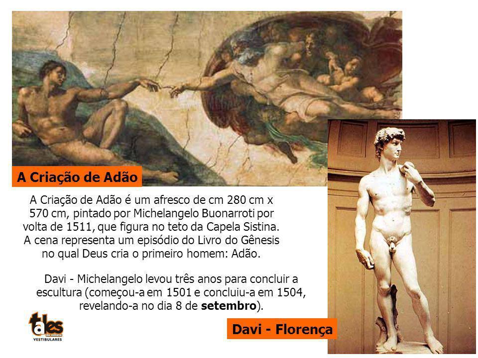 A Criação de Adão Davi - Florença Davi - Michelangelo levou três anos para concluir a escultura (começou-a em 1501 e concluiu-a em 1504, revelando-a n