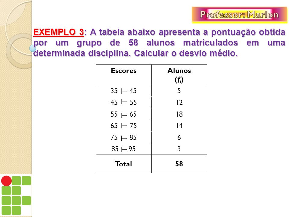 EXEMPLO 3: A tabela abaixo apresenta a pontuação obtida por um grupo de 58 alunos matriculados em uma determinada disciplina. Calcular o desvio médio.