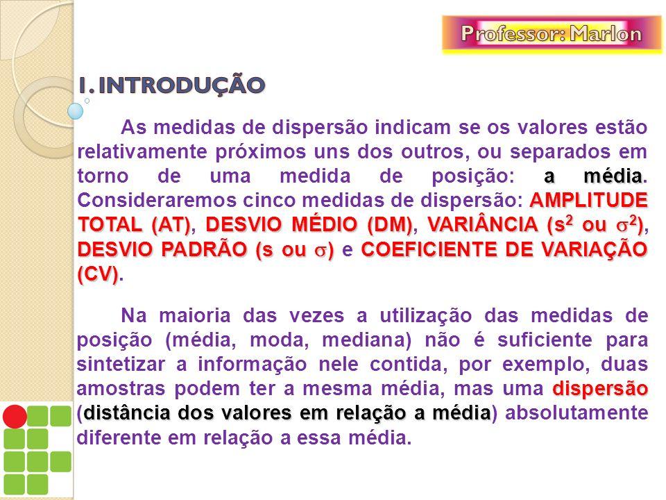 a média AMPLITUDE TOTAL (AT) DESVIO MÉDIO (DM)VARIÂNCIA (s 2 ou 2 ) DESVIO PADRÃO (s ou )COEFICIENTE DE VARIAÇÃO (CV) As medidas de dispersão indicam