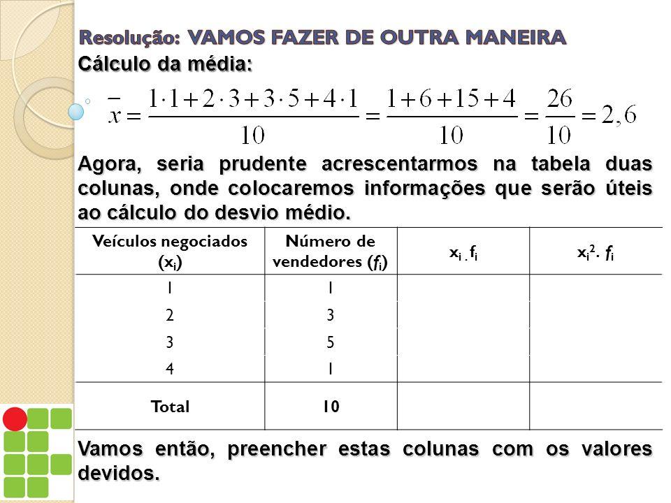 Agora, seria prudente acrescentarmos na tabela duas colunas, onde colocaremos informações que serão úteis ao cálculo do desvio médio. Veículos negocia
